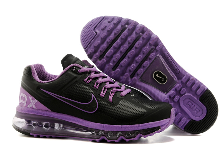 2013 Nike Air Max Black Purple Running Shoes For Women