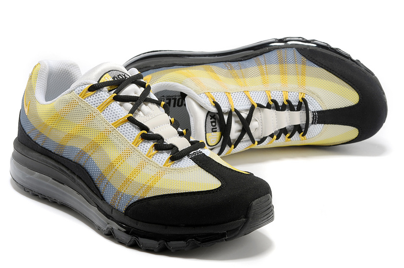 2013 Nike Air Max 95 White Black Yellow Women Shoes