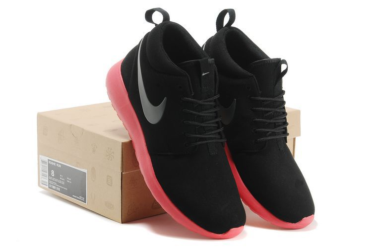 Nike Roshe Run High Black Red Shoes