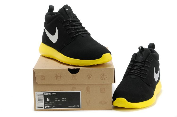 Nike Roshe Run High Black Yellow Shoes