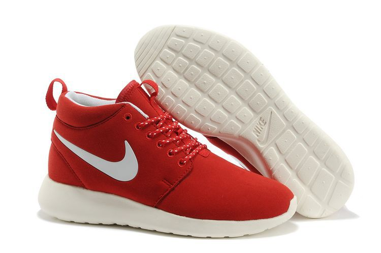 Nike Roshe Run High Red White Shoes