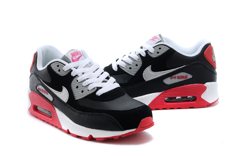 2014 Nike Air Max 90 Black White Red Shoes