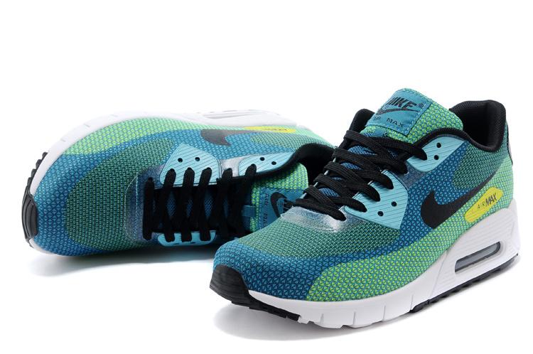 2014 Nike Air Max 90 Blue Green Black White Shoes