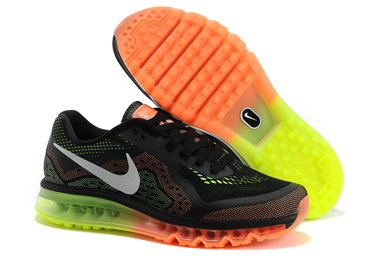 2014 Nike Air Max Cushion Black Orange Green For Women