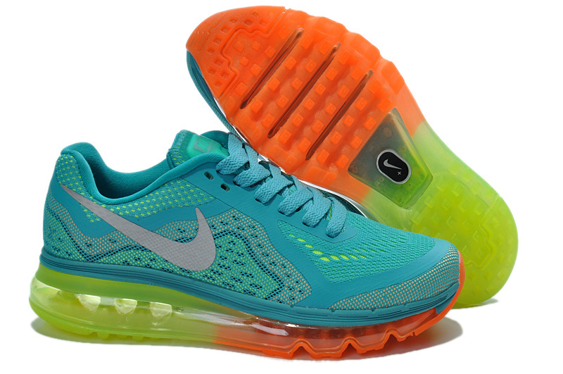 2014 Nike Air Max Cushion Blue Orange Green For Women