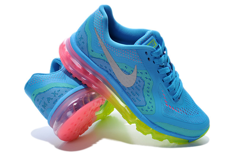 2014 Nike Air Max Cushion Blue Silver Fluorscent Green Pink For Women