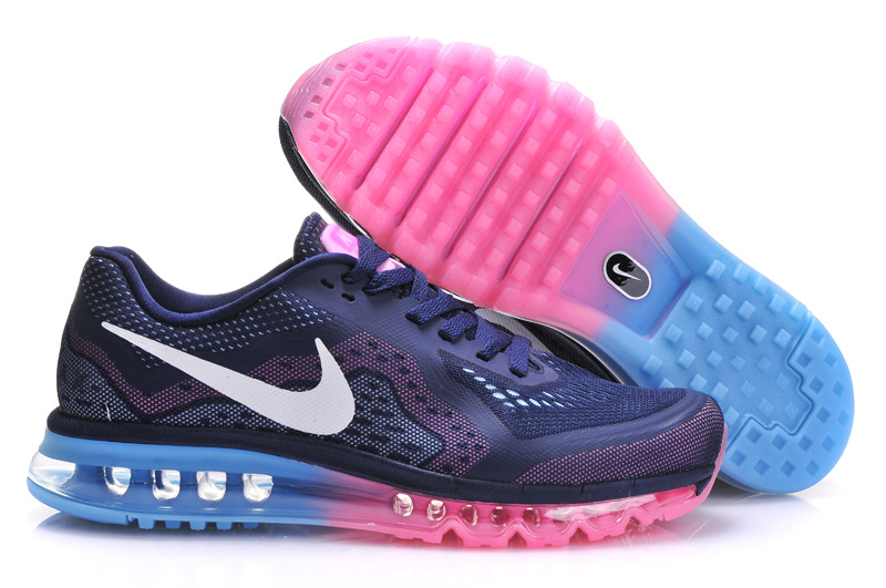 2014 Nike Air Max Cushion Dark Blue Pink For Women