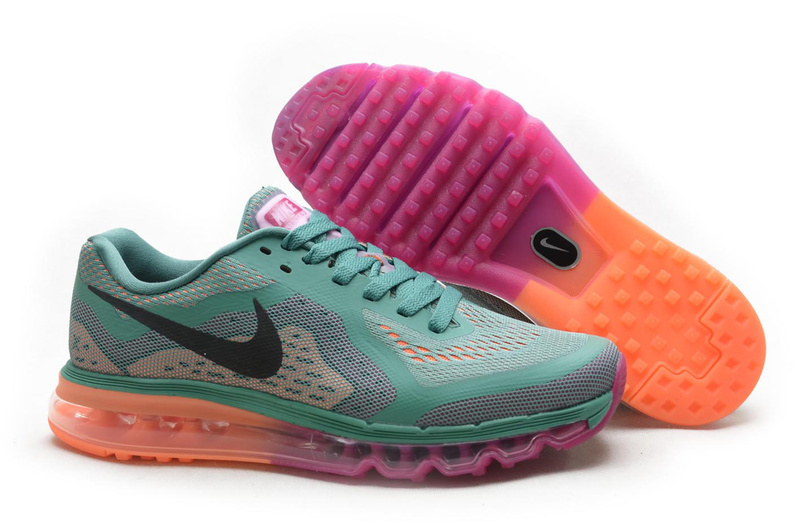 2014 Nike Air Max Cushion Green Grey Pink Orange For Women