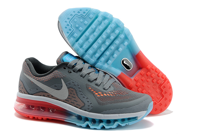 2014 Nike Air Max Cushion Grey White Blue Red For Women