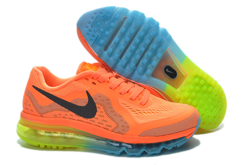 2014 Nike Air Max Cushion Orange Blue Yellow For Women