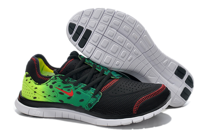 Nike Free Run 3.0 Shoes Black Blue Green Red