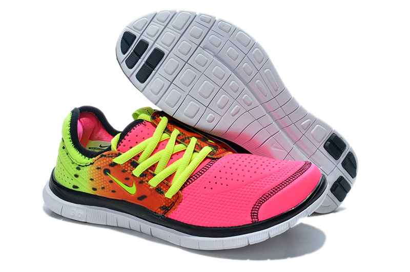 Nike Free Run 3.0 Shoes Pink Yellow Red