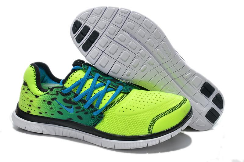 Nike Free Run 3.0 Shoes Yellow Blue Black