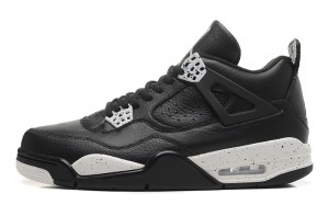 2015 Air Jordan 4 VI Oreo Black Leather White Speckle Remastered