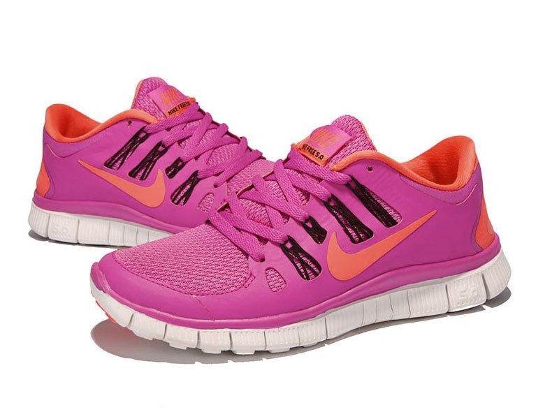 2015 Women Nike Free Run 5.0 2 Pink Orange Shoes