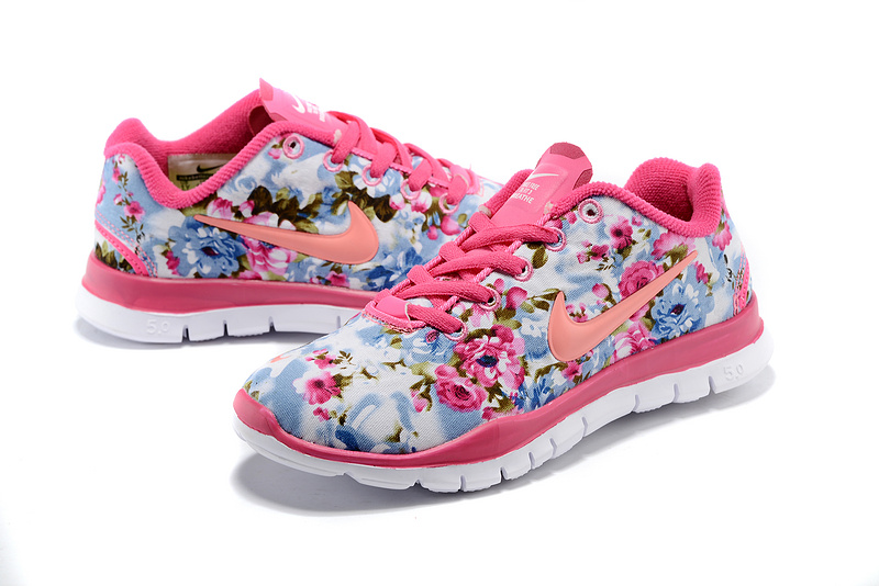 2015 Nike Free Run 5.0 Bird Net Pink Blue Orange Shoes For Women