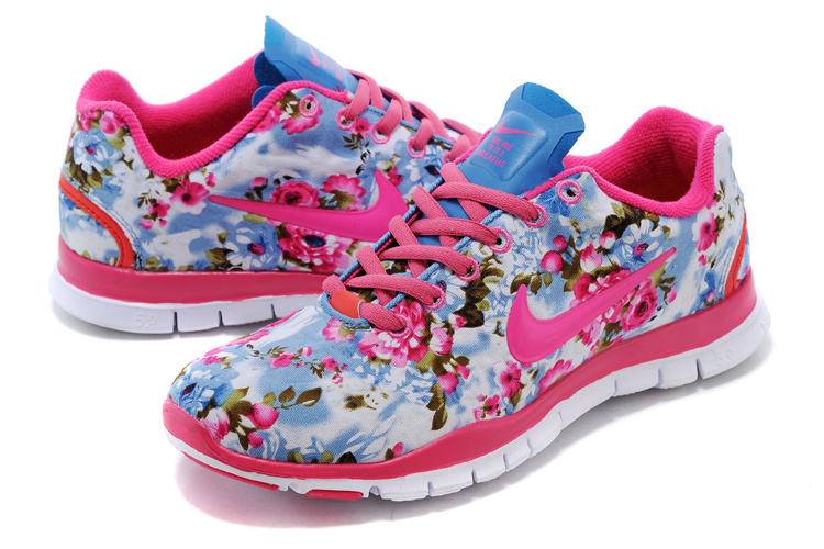 2015 Nike Free Run 5.0 Bird Net Pink Blue Shoes For Women