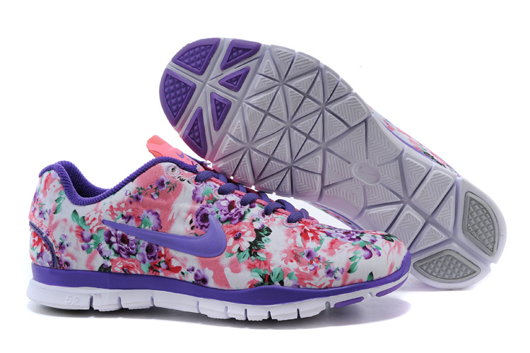 2015 Nike Free Run 5.0 Bird Net Purple Orange Shoes For Women