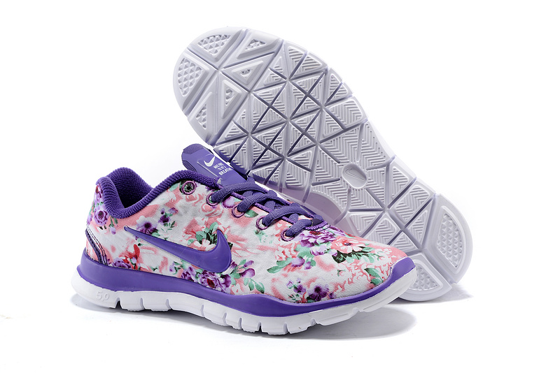 2015 Nike Free Run 5.0 Bird Net Purple White Shoes For Women