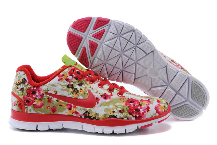 2015 Nike Free Run 5.0 Bird Net Red White Shoes For Women