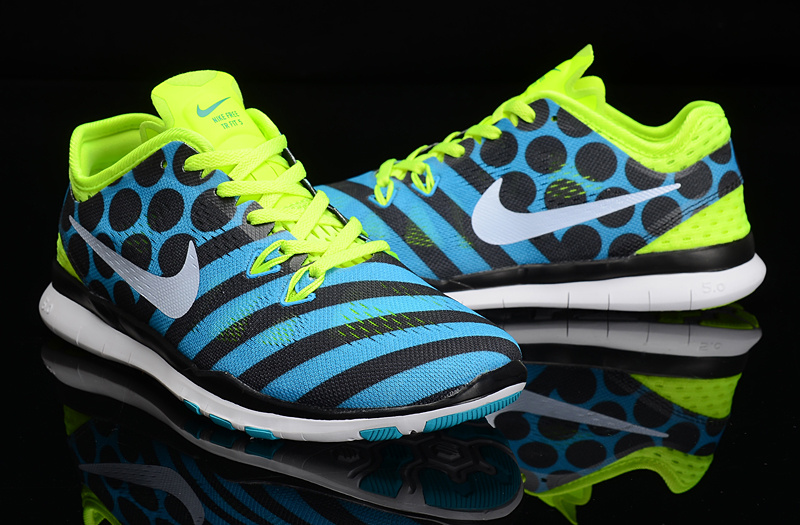 2015 Nike Fren 5.0 Knit Fluorscent Blue Black Dluorscent Green Training Shoes For Women