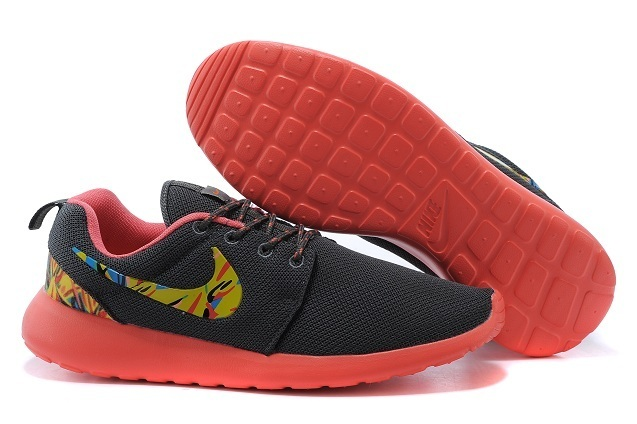 2015 Nike Roshe Run Black Red Women Shoes