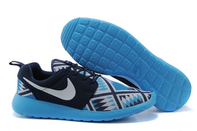 2015 Nike Roshe Run Blue Black Women Shoes