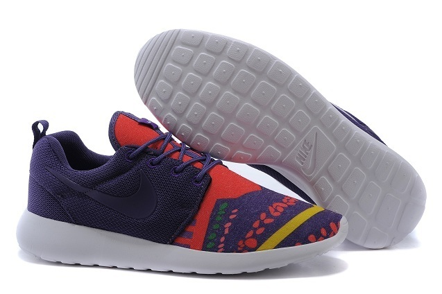 2015 Nike Roshe Run Deep Purple Red White Women Shoes