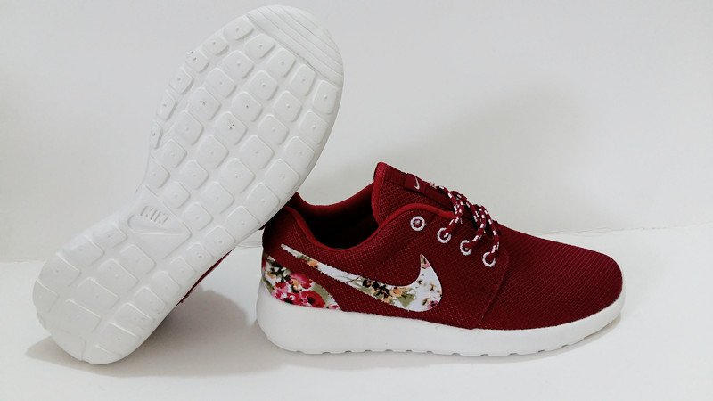 2015 Nike Roshe Run Deep Red White Shoes
