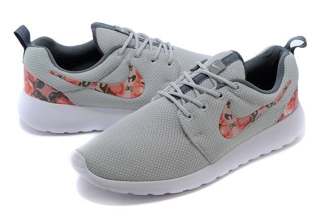 2015 Nike Roshe Run Grey Red Women Shoes