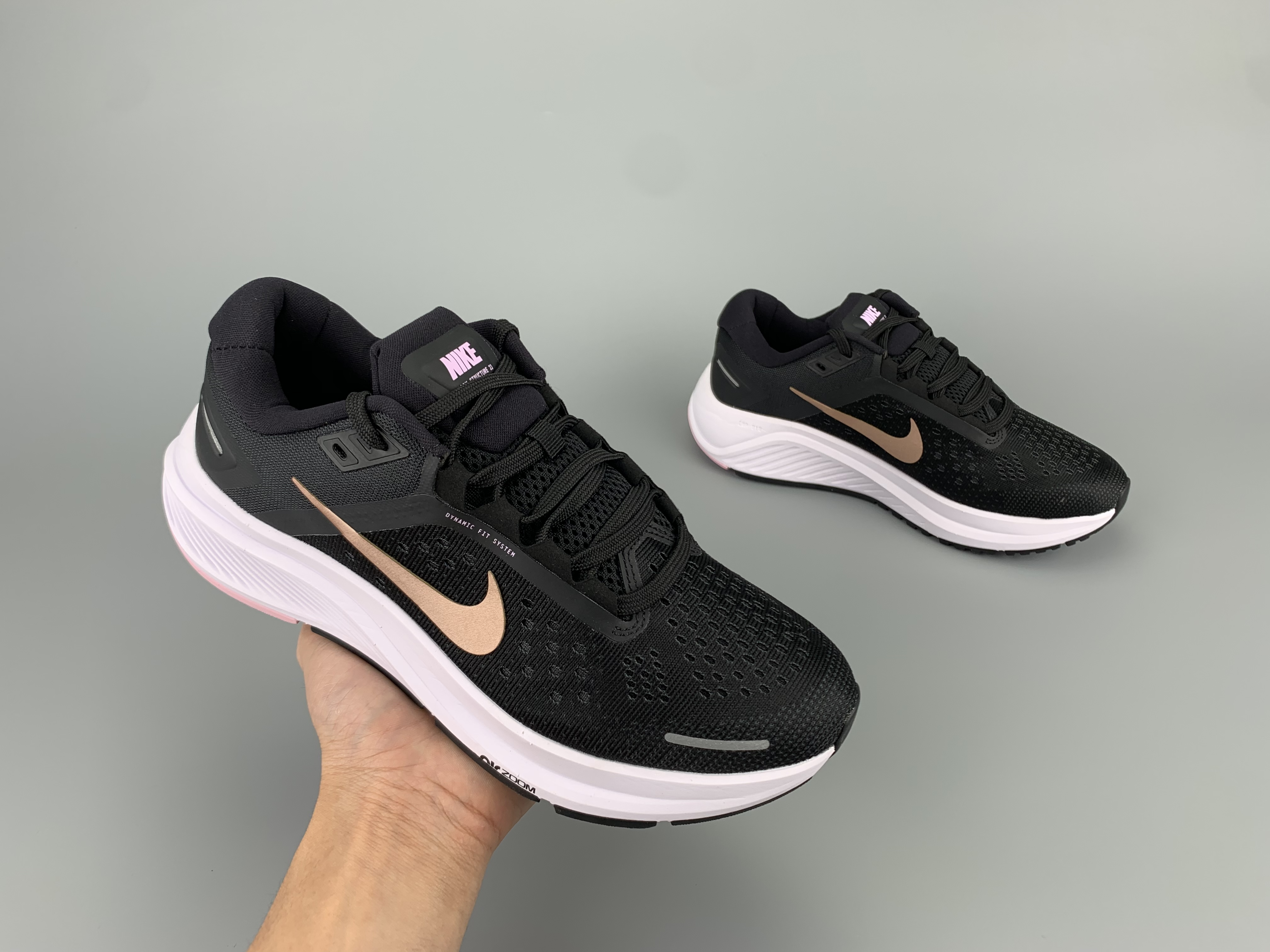 2020 Men Nike Zoom Structure 23 Black Gold White Running Shoes