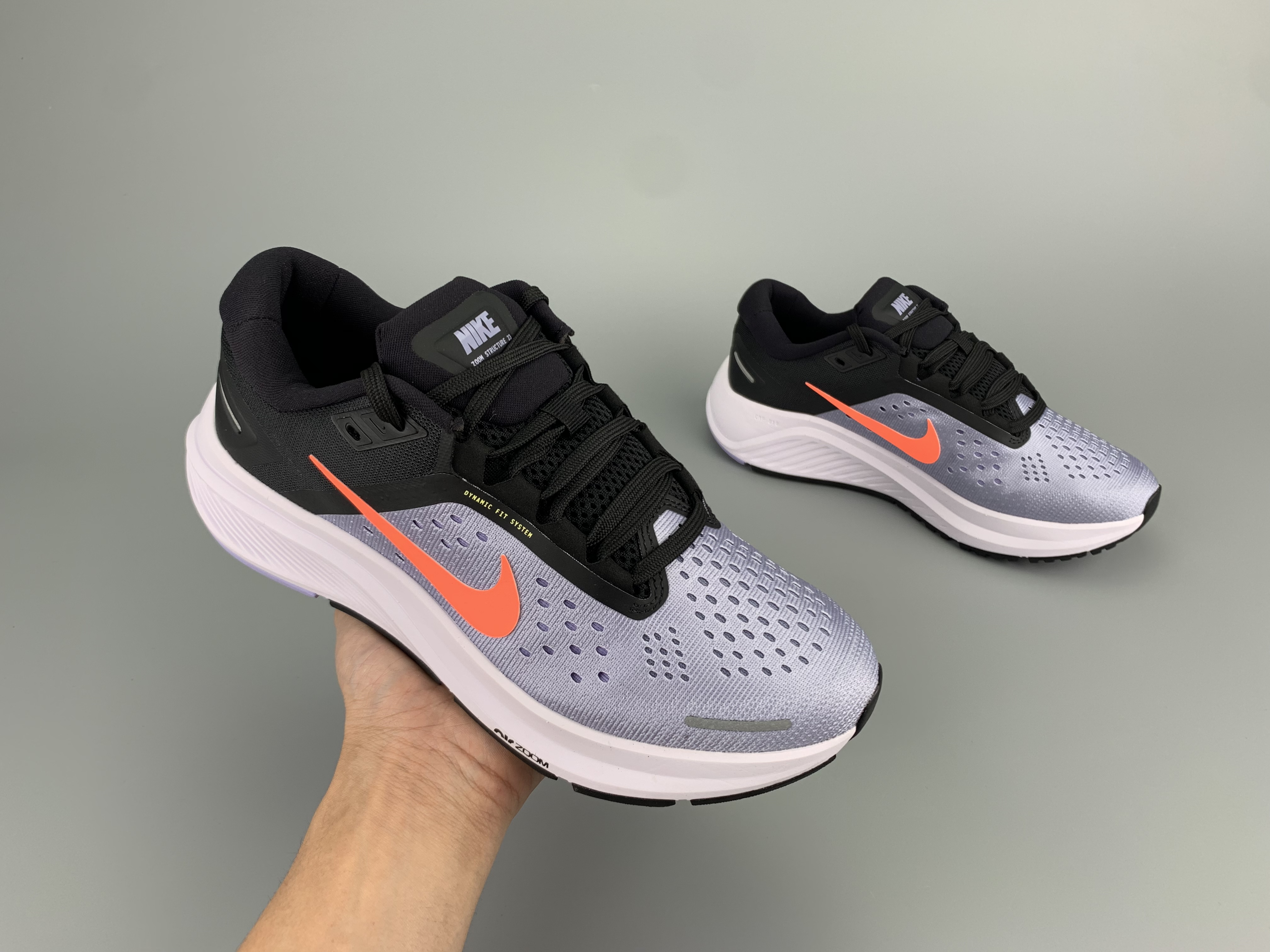 2020 Men Nike Zoom Structure 23 Silver Grey Black Orange Running Shoes