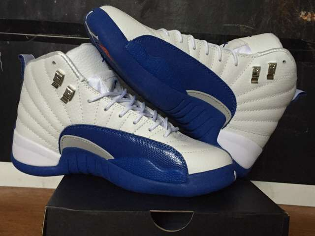 Air Jordan 12 White French Blue Shoes