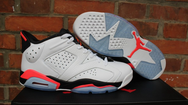 Air Jordan 6 Low White Infrared White Black Red Shoes