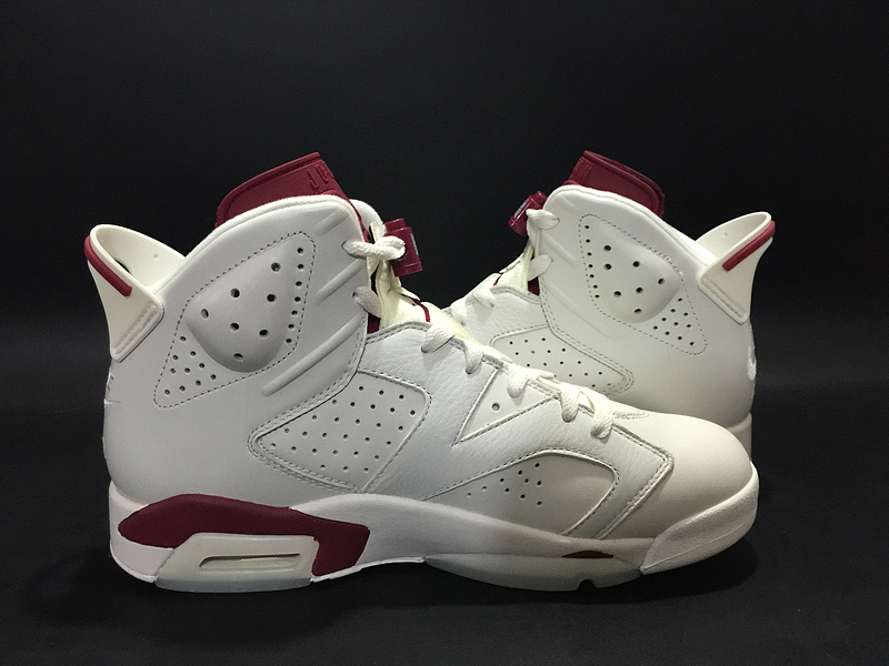 Air Jordan 6 Maroon White Red Shoes