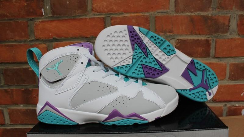 Air Jordan 7 Retro GS Easter Painted Egg White Grey Purple Shoes