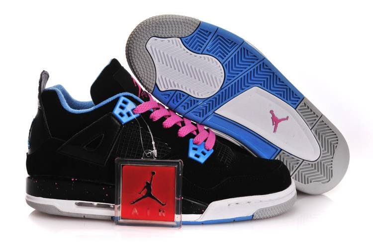 Air Jordan IV GS Black Pink Blue With Plastic Tag