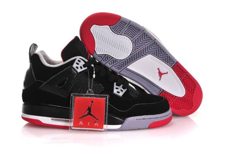 Air Jordan IV GS Black Red With Plastic Tag