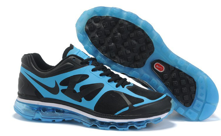 Nike Air Max 2012 Black Blue Black Logo Shoes