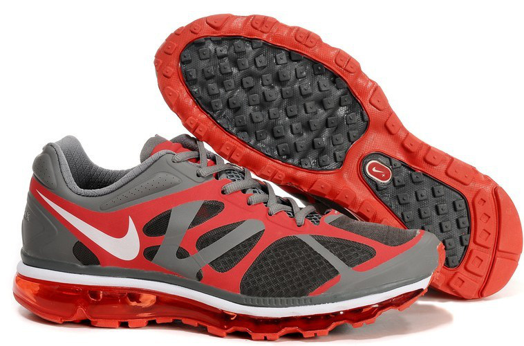 Nike Air Max 2012 Grey Black Red White Logo Shoes
