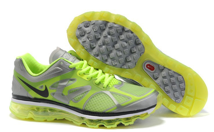 Nike Air Max 2012 Grey Fluorescent Green Black Logo Shoes