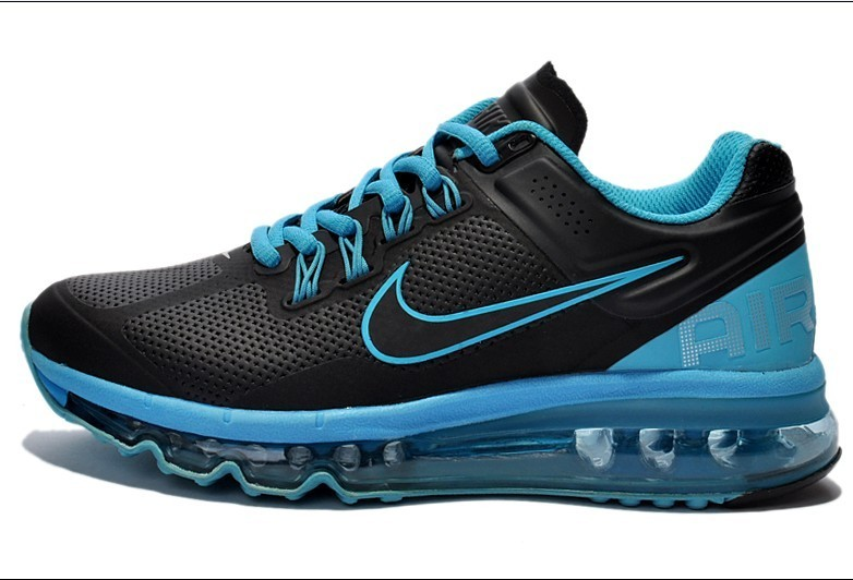 Nike Air Max 2013 Leather Black Blue For Women