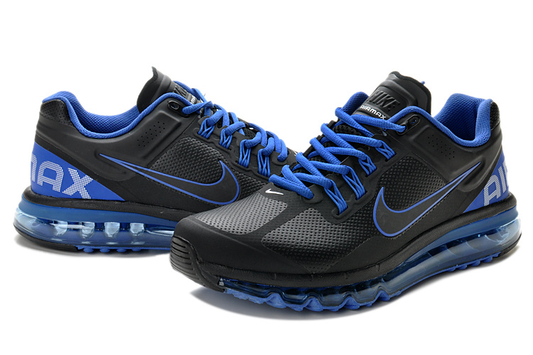 Nike Air Max 2013 Leather Black Blue Shoes