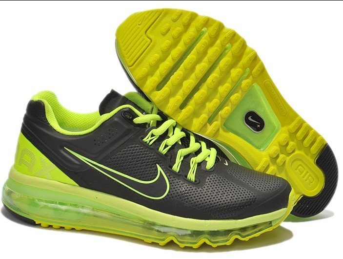 Nike Air Max 2013 Leather Black Fluorscent Green For Women
