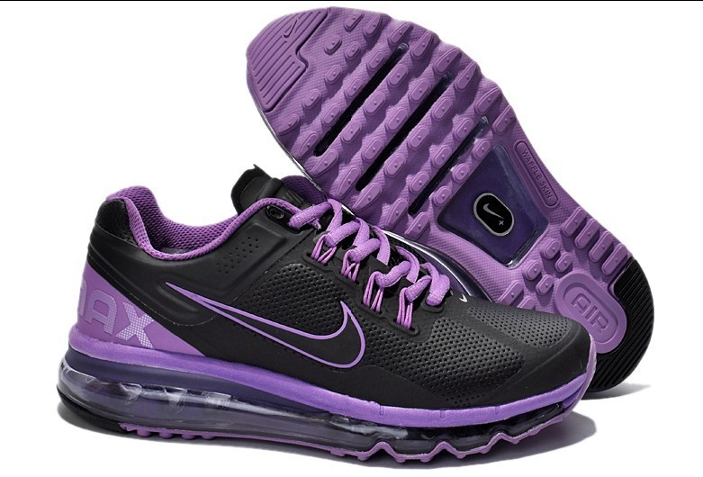 Nike Air Max 2013 Leather Black Purple For Women