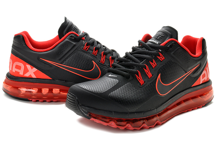 Nike Air Max 2013 Leather Black Red Shoes
