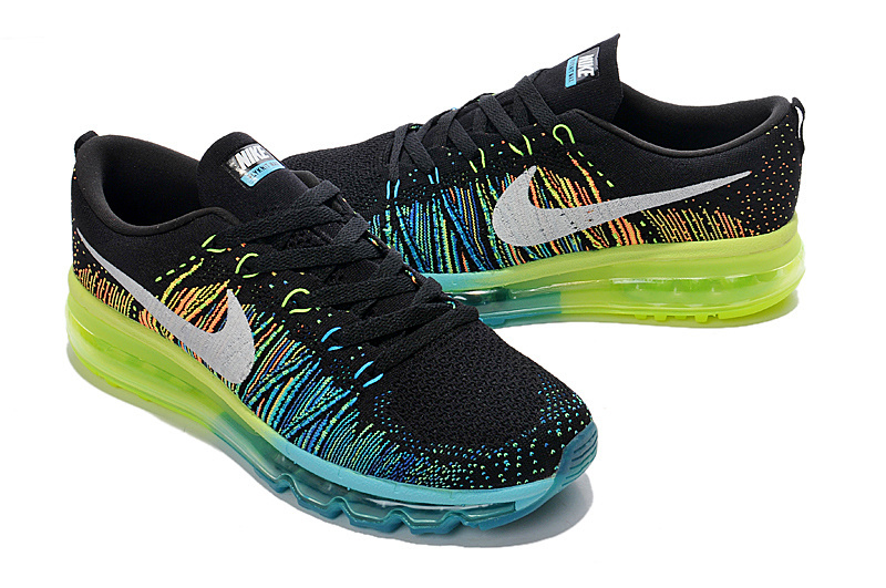 Nike Air Max 2014 Flyknit Black Blue Yellow Shoes