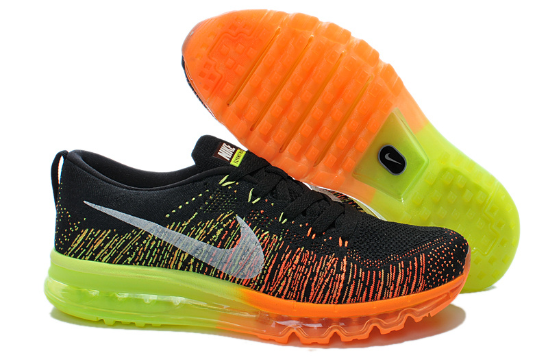 Nike Air Max 2014 Flyknit Black Orange Yellow Shoes
