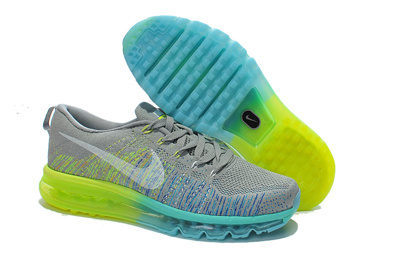 Nike Air Max 2014 Flyknit Grey Blue Yellow Shoes