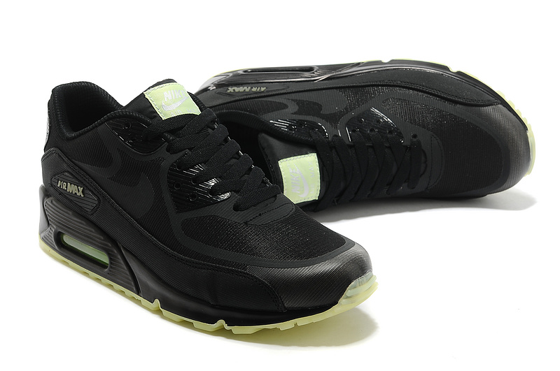 Nike Air Max 90 All Black Green Sole Shoes